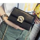Faux Leather Chain Strap Crossbody Bag