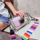 Studded Pvc Crossbody Bag With Sequined Pouch