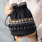 Embellished Drawstring Bucket Shoulder Bag