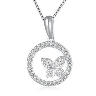 18k/750 White Gold Ring And Butterfly Diamond Pendant (0.17 Cttw) (free 925 Silver Box Chain)