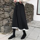 Two-tone Midi A-line Skirt Black - One Size