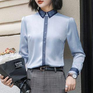 Contrast Trim Shirt / Plaid Straight-fit Pants / High-waist Pencil Skirt / Set