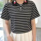 Heart Embroidered Short-sleeve Striped Polo Shirt