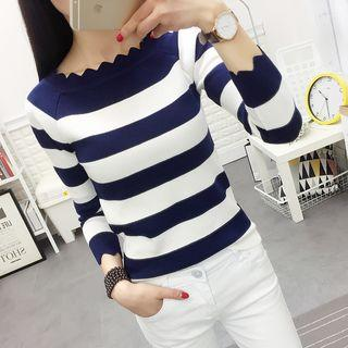 Striped Scallop Trim Long Sleeve Knit Top