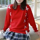 Lace-up Crewneck Sweater