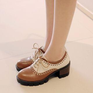Two-tone Chunky Heel Lace-up Shoes