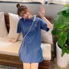 Tennis Print Short-sleeve Polo Shirtdress
