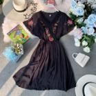 Lace-trim Embroidered V-neck Dress