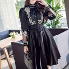 Mock Neck Lace Trim Pleated Long-sleeve Shirt Dress