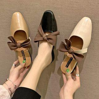 Pointed Block Heel Bow Mules