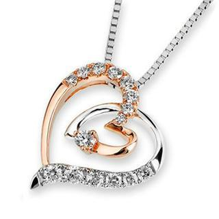 18k Rose And White Gold Double Heart Round Diamond Accents Pendant Necklace (1/5 Cttw) (free 925 Silver Box Chain, 16)
