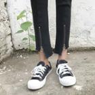 Plain Fringed Zip Jeans