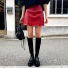 Slit-hem Pleather Miniskirt