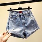 Rolled Washed Denim Shorts