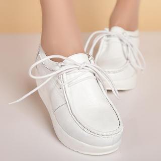 Lace-up Genuine Leather Platform Shoes
