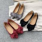 Bow-accent Pointed Velvet Flats