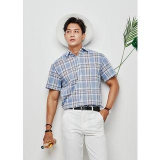 Short-sleeve Summer Plaid Shirt
