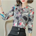 Bow Neck Patterned Blouse