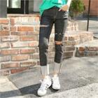 Distressed Rolled-up Jeans