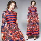 Printed Long-sleeve A-line Maxi Shirt Dress