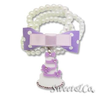 Sweet Purple Polka Dots Bow Dolly Cake Charm Pearly Bracelet Purple - One Size