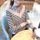 Mesh-panel Striped Knit Top