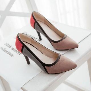 Faux-suede Color-block Stilettos