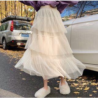 Midi Tiered Mesh Skirt