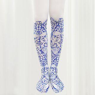 Leaf Print Tights