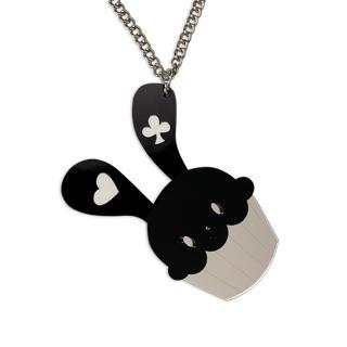 Xl Sweet Black Bunny Cupcake Of Heart Silver Long Necklace