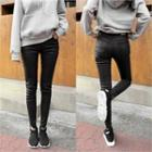 Coated Brushed-fleece Lined Slim-fit Pants