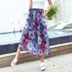 Cropped Patterned Chiffon Pants
