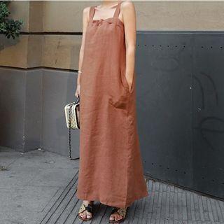 Sleeveless Linen Maxi A-line Dress