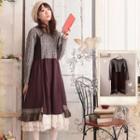 Long-sleeve Crochet Lace Panel Midi Dress