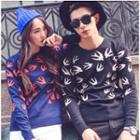 Couple Bird Patterned Knit Top
