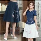 Flower Embroidered Flared Skirt