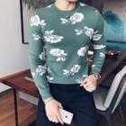 Patterned Round-neck Slim-fit Sweater