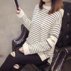 Cut Out Striped Knit Hoodie