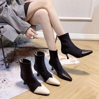 Paneled Stiletto Heel Short Boots