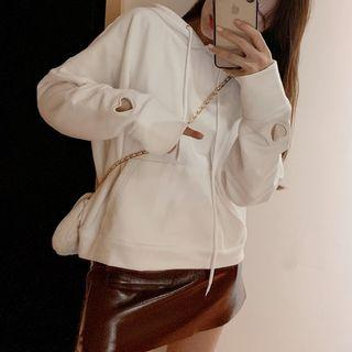 Cutout Heart Hoodie White - One Size