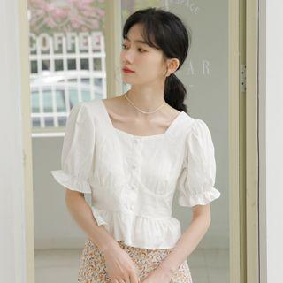 Bell-sleeve Square-neck Blouse White - One Size