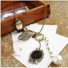 Faux-pearl Owl Necklace