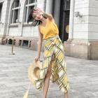 Set: V-neck Camisole Top + Print Maxi Wrap Skirt