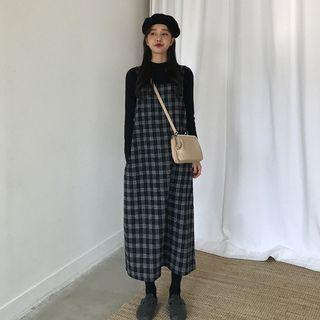 Plaid Midi Jumper Dress As Shown In Figure - One Size