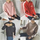 Contrast Trim Lettering Sweatshirt