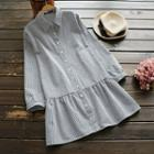 Long-sleeve Pinstripe Shirtdress