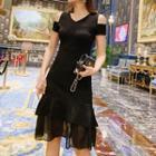 Cold-shoulder Chiffon Panel A-line Dress