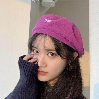 Embroidered Beret Purple - One Size