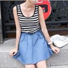 Sleeveless Denim Hem Stripe Dress