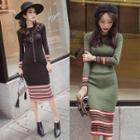 Long-sleeve Striped Trim Dress